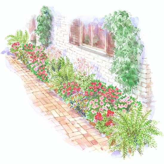 Colorful front yard garden plans for Foundation garden designs