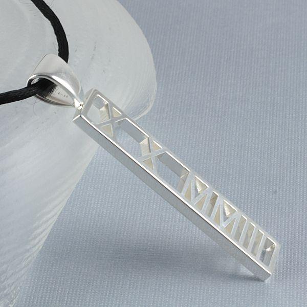 Vertical Roman Numeral Pendant, Pierced One Tone 50mm