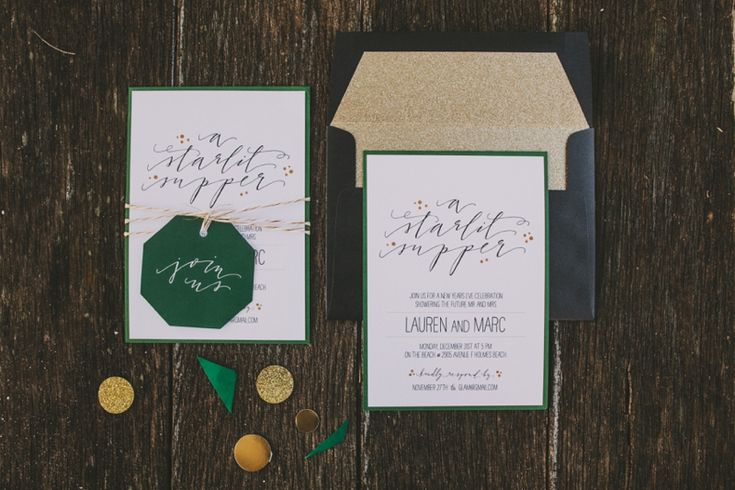I love the combination of glittery cold, geometric shapes, and elegant calligraphy used in this suite.