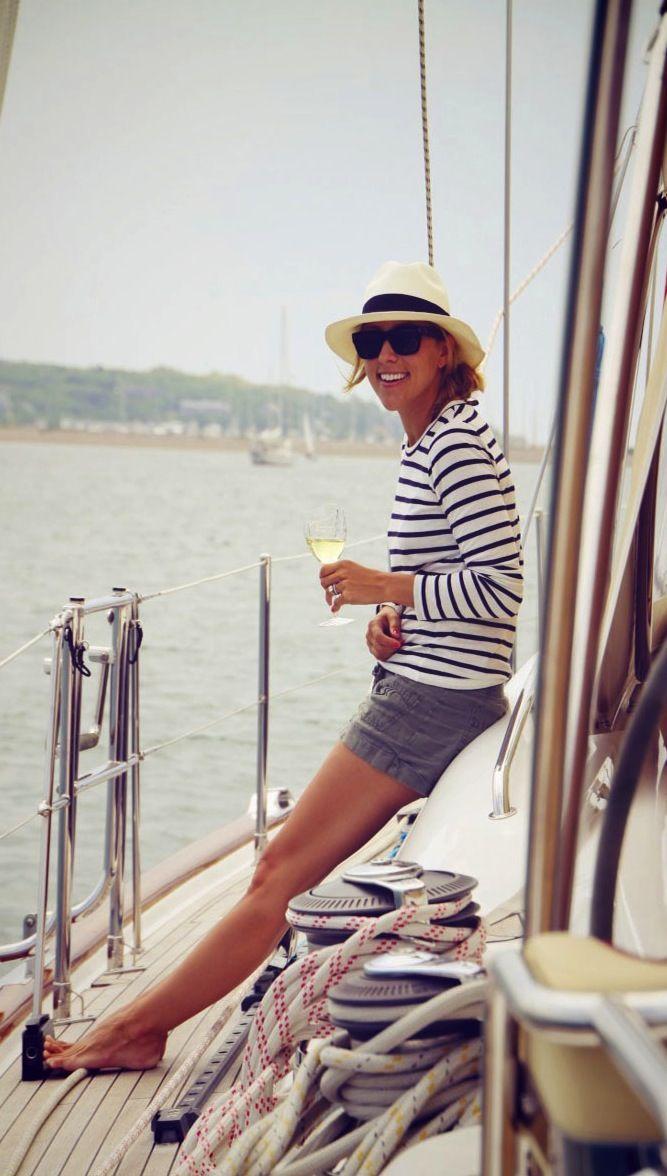 breton shirt + shorts + wine
