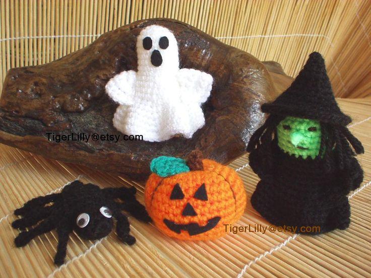 Halloween Pumpkin Amigurumi : Halloween crochet pattern amigurumi pumpkin witch ghost ...