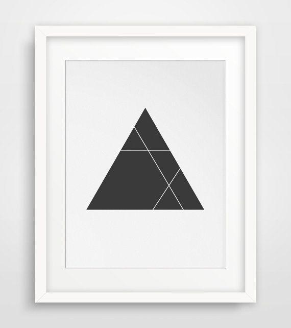 Minimalist triangle print black and white black geometric for Minimalist wall painting
