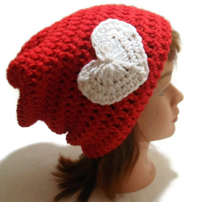 Crochet Valentine Hat : Crochet Red Slouch Beanie Hat Valentine White by AddSomeStitches, $25 ...