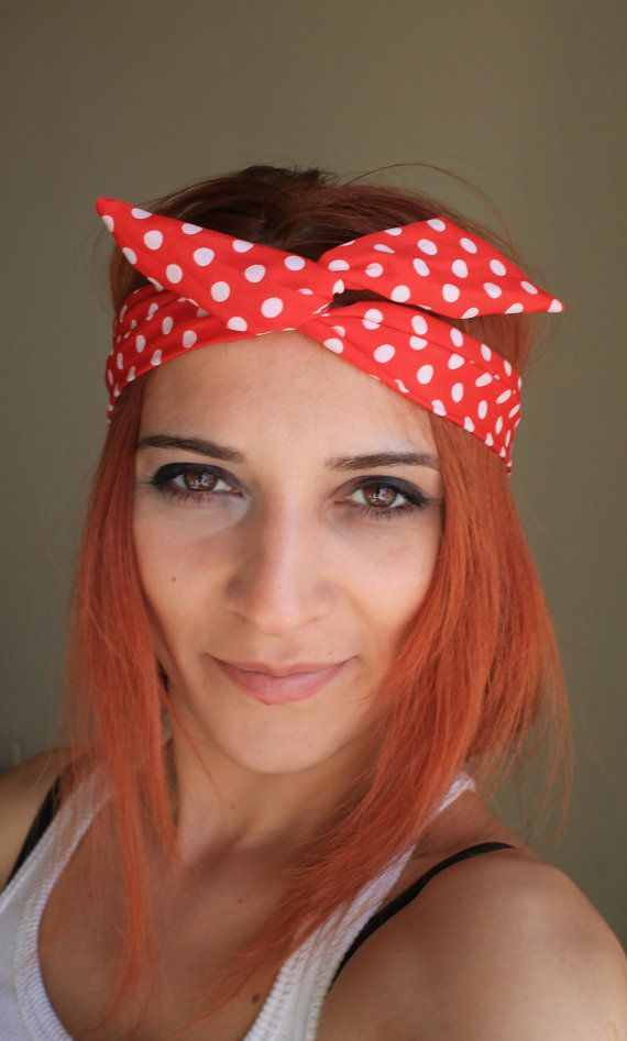 red polka dots into the Wire Headband Scarf hair by fashioncesa, $5.90