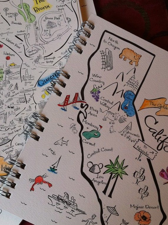 Hand Drawn Map Travel Journal
