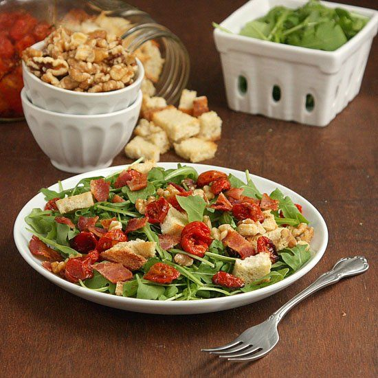... slow-roasted tomatoes, homemade croutons, and chopped walnuts. The BLT