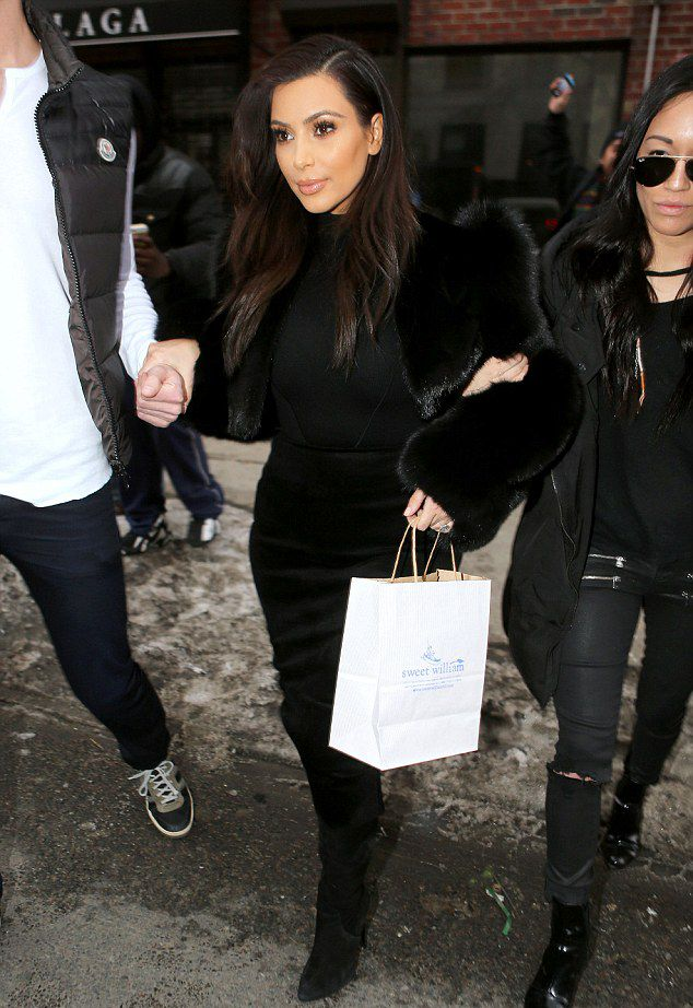 Kim Kardashian leaving the Sweet William Baby Clothing Store in NYC