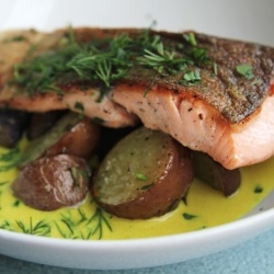Crispy trout served with roasted new potatoes and a tumeric-fenugreek ...