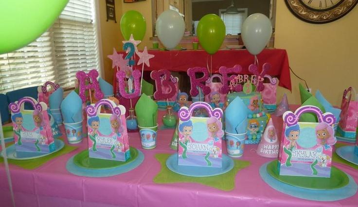 Bubble guppies name centerpiece bubble guppies party ideas pinter - Bubble guppies center pieces ...