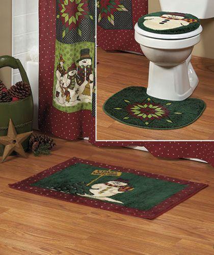 new 3 pc holiday christmas snowman bathroom rug set