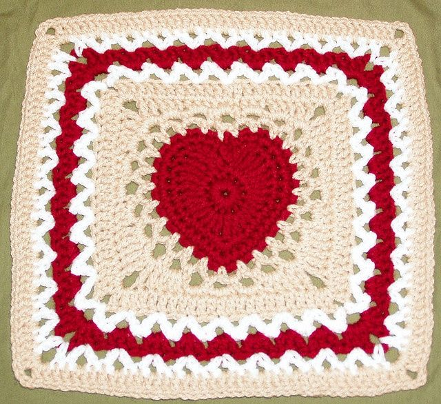 Crochet Granny Square Heart Patterns : crochet patten - center heart square crochet Pinterest