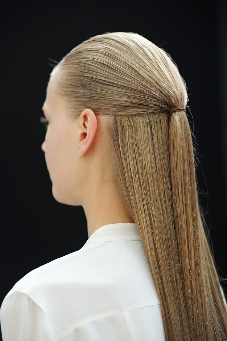 Couture Beauty: Autumn/Winter 2013-14 | Giambattista Valli / Hair was smoothed back into neat, half-up-half-down styles.