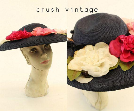 Navy Blue Floral Hat 1940s Wide Brim By CrushVintage On Etsy 62 00