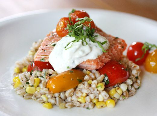 Slow Roasted Salmon with Cherry Tomatoes and Farro (see bon appetite ...