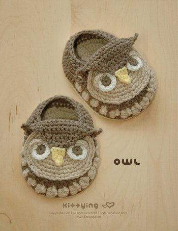 Crochet Baby Booties Written Pattern : Owl Baby Booties Crochet PATTERN, Chart & Written Pattern