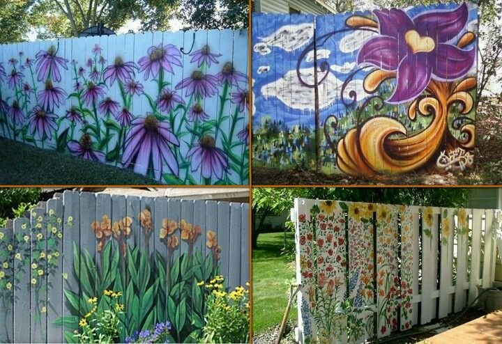 Paint your fence home ideas pinterest for Garden wall painting designs