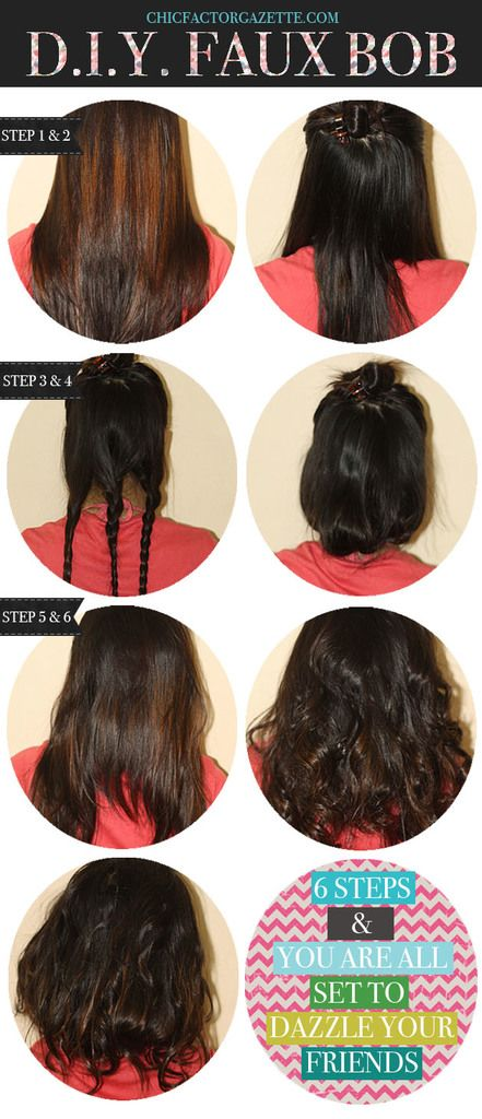 female shaved hairstyles : DIY Faux Bob : Faux Bob Hairstyle, Hairstyle without Products, Easy ...