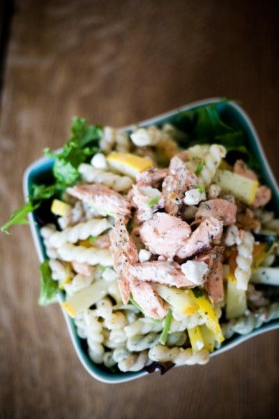 Smoked Trout and Goat Cheese Feta Pasta Salad
