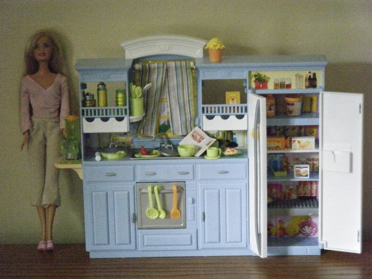 Barbie play all day blue white kitchen gift set with doll for All kitchen set