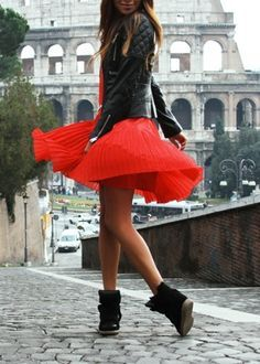 Toughen up a floaty skirt with a leather jacket and high tops! #hightops #skirt #rocker