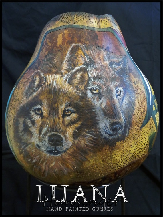Wolves Inhabited Hand Painted Gourd by by LuanasPaintedGourds, $800.00