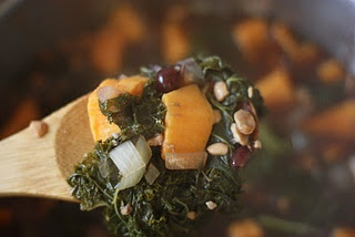 Cranberry Tempeh Stew with Sweet Potatoes and Kale