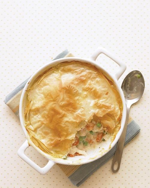 Lighter Chicken Potpie with a Phyllo crust. It's Martha Stewart, so it ...