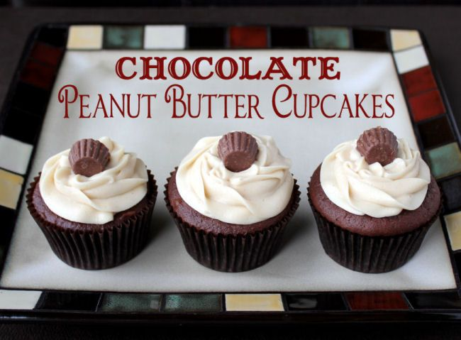 Chocolate Peanut Butter Cupcakes... I would make these without the ...