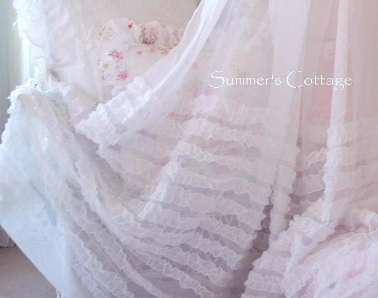Shabby White Ruffles Organza Chic Shower Curtain