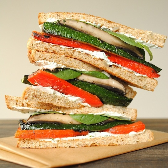 ... favorite Summer sandwich: grilled vegetables with herbed goat cheese