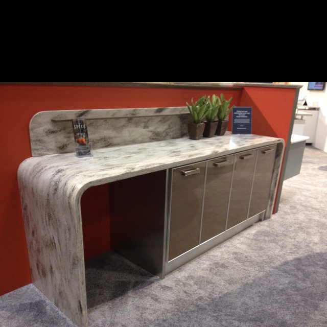Wrap around marble countertop. Classy