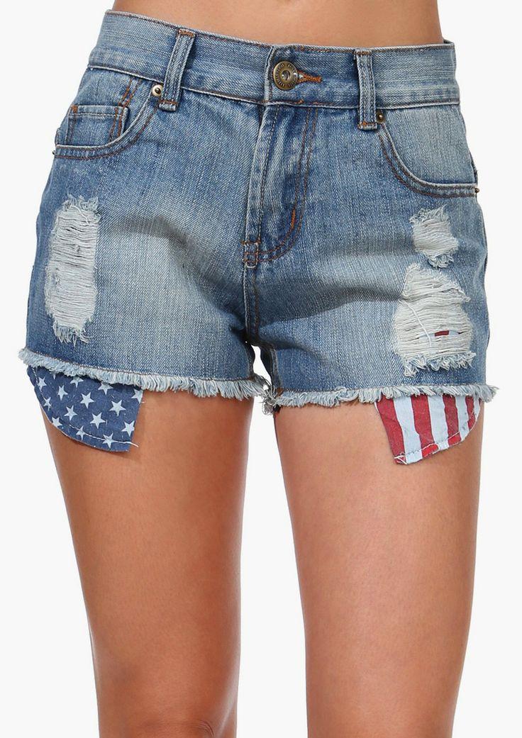 American Flag Denim Short