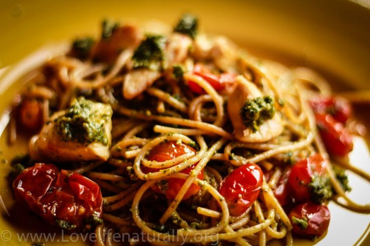 ... Pan Seared Chicken with Whole Grain Pasta Fresh Pesto and Tomatoes