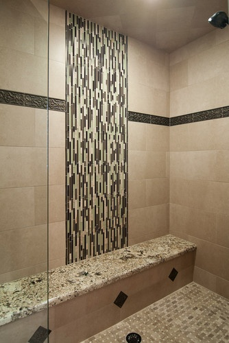 vertical shower tile pattern and bench skyline design