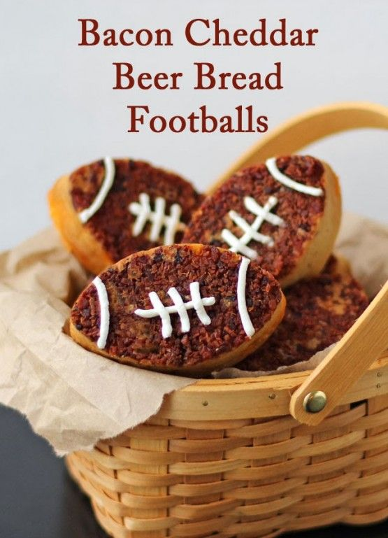 Super Bowl: Bacon Cheddar Beer Bread Footballs