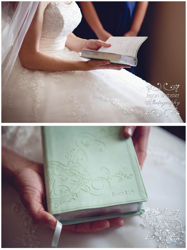 On their wedding day, the groom gave the bride an engraved bible with her married name on it. My husband gave me the exact same gift! Perfect!