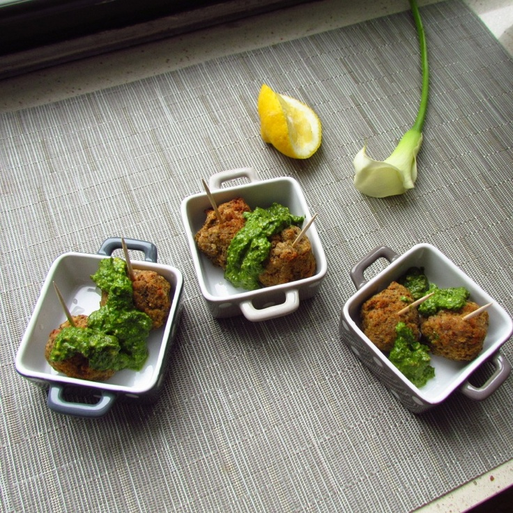 ... Lemon Pesto: Vegetarian lentil and chickpea meatballs with lemon pesto