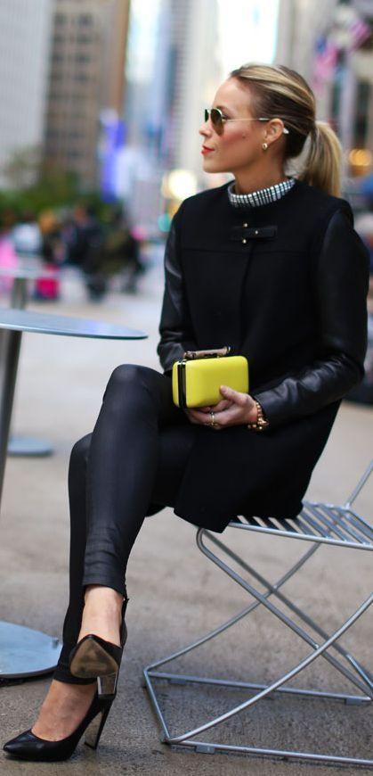 Zoe Leather Look Leggings / Happily Grey