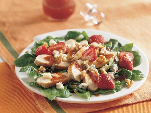 Chicken and Strawberry-Spinach Salad - Bright greens and red ...