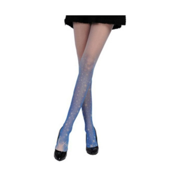 White and Blue Gradient Star Tattoo Sheer Tights (105 CNY) found on ...