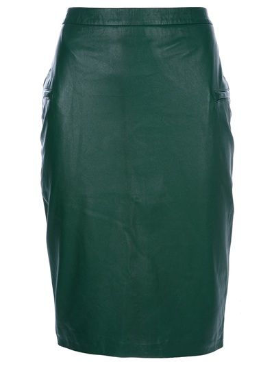 malene birger green leather pencil skirt fashion and