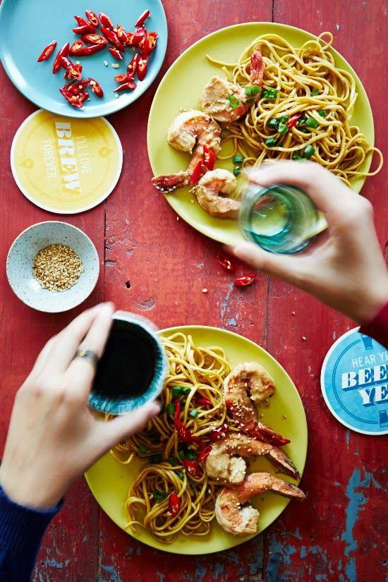 Spicy Peanut Prawns and Garlic Noodles | Pasta + Noodles + Gnocchi ...
