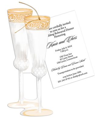 Champagne Flutes Die-Cut Invitations