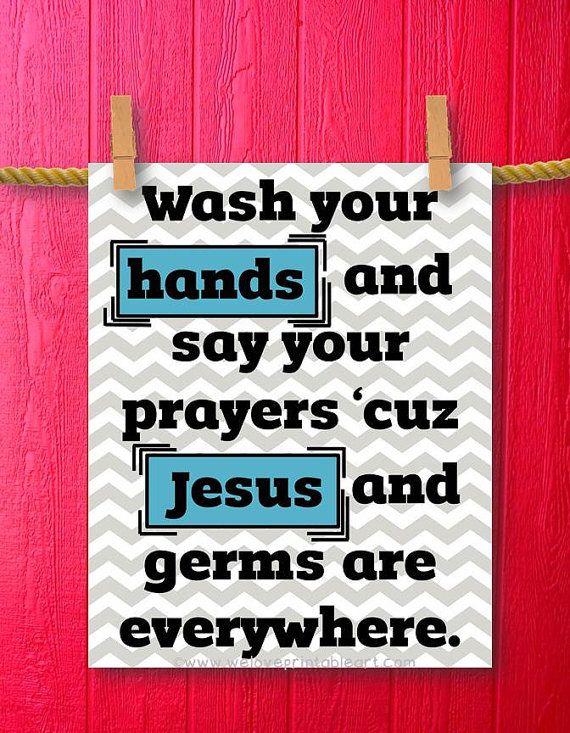 Jesus and Germs Funny by WeLovePrintableArt,Wash Your Hands Jesus ...
