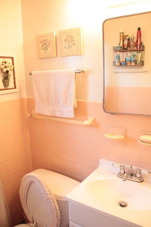 Color To Paint A 50s Pink Bathroom Floor Tiles Cabinets Pink Bathroom ...