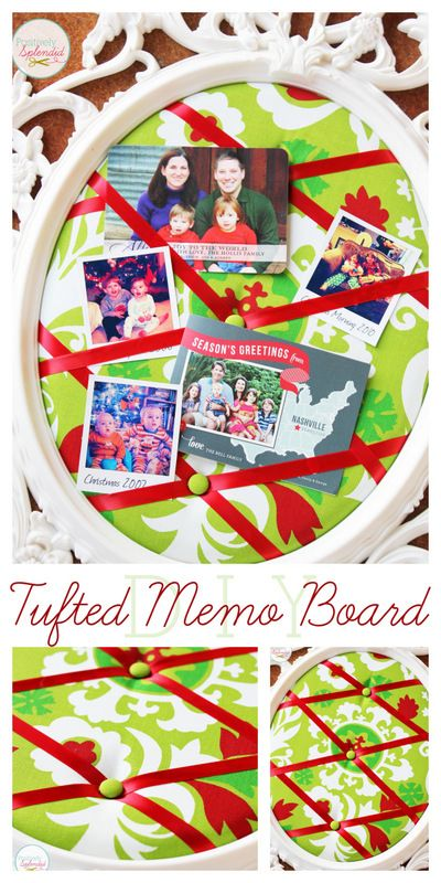 This DIY tufted memo board at Positively Splendid is gorgeous, and it can be made with absolutely any frame! Perfect for displaying Christmas cards and photos.
