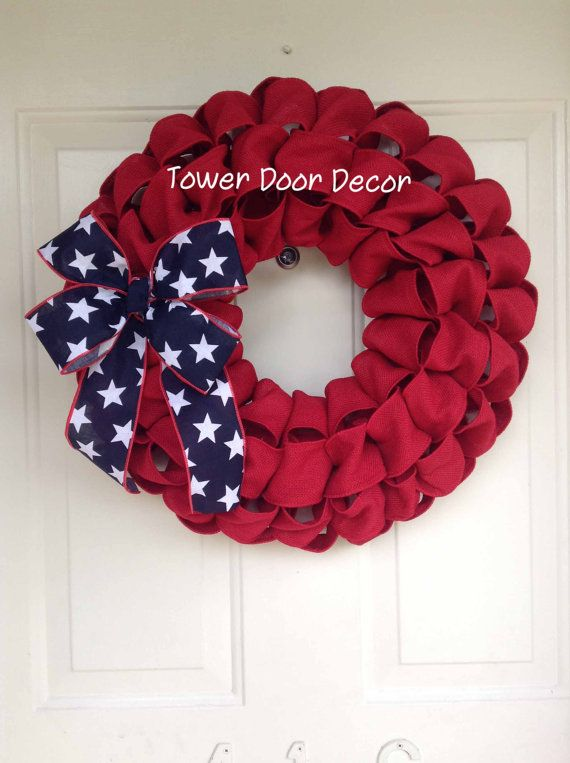 Patriotic 4th of July Burlap Red Faux Burlap Wreath by TowerDoorDecor, $35.00