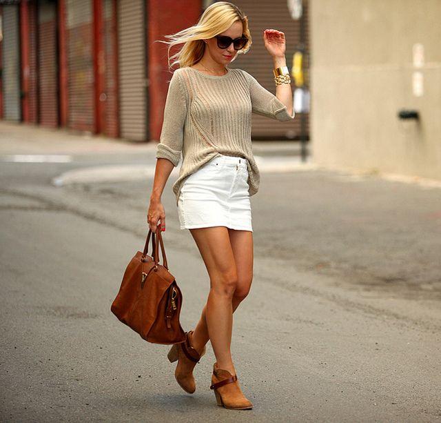 白デニムスカート着こなしコーデ