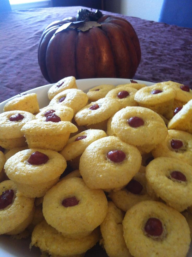 Mini cornbread smokie muffins. | I do! | Pinterest