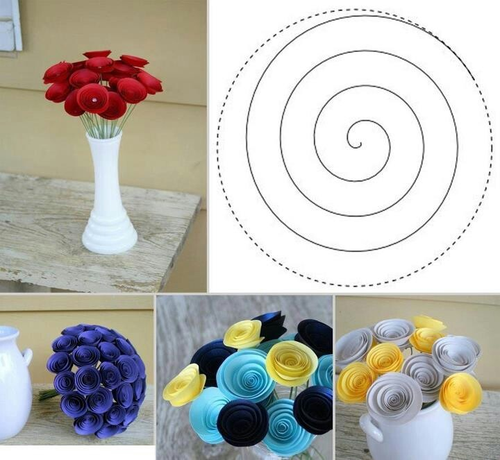 Paper Swirl Flowers Diy And Craft Ideas Pinterest